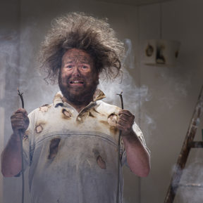 man with crazy hair from electrical explosion